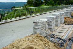 Construction site building sidewalk pavement Royalty Free Stock Photography