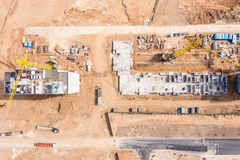 Construction site with building tower cranes. development of new residential area stock images