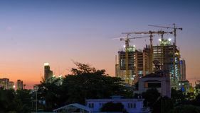 Construction site building on twilight time Royalty Free Stock Photography