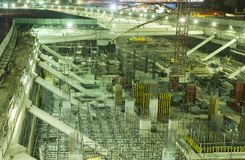 Construction site for buildings. At night stock photo