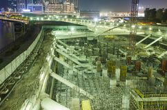 Construction site for buildings. At night royalty free stock image
