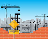 Construction site with buildings and cranes Stock Photo