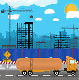 Construction site with buildings and cranes stock illustration