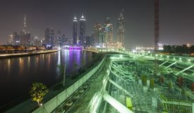 Construction site for buildings at night. Dubai royalty free stock photo