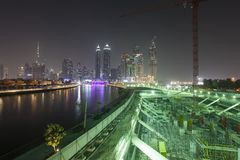 Construction site for buildings at night. Dubai stock image