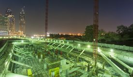 Construction site for buildings at night. Dubai stock images