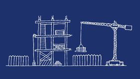 Construction site cartoon blueprint Stock Photo