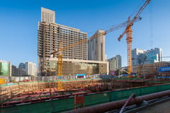 Construction site in China. Construction site in the Shenyang downtown. Liaoning province, China stock image
