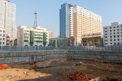 Construction site in China. Construction site in the Shenyang downtown. Liaoning province, China Royalty Free Stock Photo