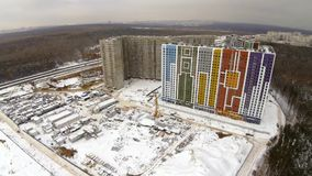 Construction site in the city. Aerial view at winter stock video footage