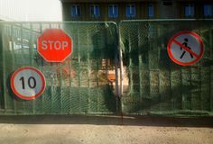 Construction site is closed due to stealing background. Horizontal orientation vivid vibrant bright color spacedrone808 rich composition design concept element stock photography