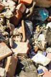 Construction site. Closeup stack of old bricks. Royalty Free Stock Photos