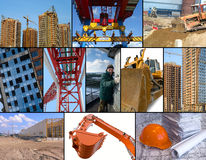 Construction site collage. Photo collage of construction related images around working man Stock Image