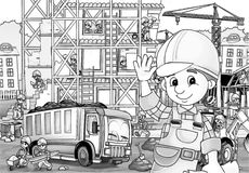 Construction site - coloring page. Beautiful construction site coloring page for children Royalty Free Stock Photography