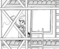 coloring pages sites | Construction Site - Coloring Page Stock Illustration ...