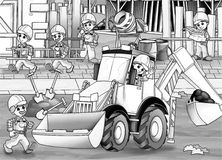 Construction site - coloring page Royalty Free Stock Image