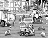 Construction site - coloring page Stock Photography