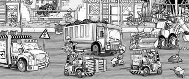 Construction site - coloring page Stock Photos