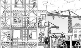 Construction site - coloring page Royalty Free Stock Images