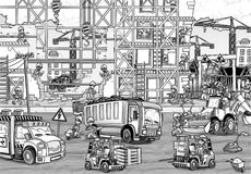 Construction site - coloring page Royalty Free Stock Photos