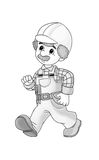 Construction site - coloring page Stock Photo