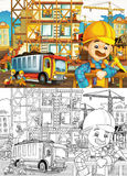 Construction site - coloring page with preview Royalty Free Stock Image