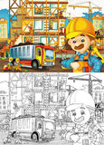 Construction site - coloring page with preview Stock Photos