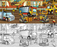 Construction site - coloring page with preview Royalty Free Stock Photos