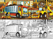 Construction site - coloring page with preview Royalty Free Stock Images