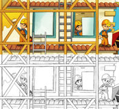 Construction site - coloring page with preview. Beautiful construction site coloring page for children royalty free illustration