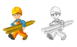 Construction site - coloring page with preview. Beautiful construction site coloring page for children vector illustration