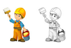 Construction site - coloring page with preview Royalty Free Stock Photography