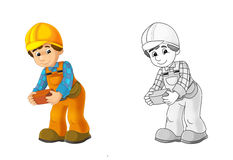 Construction site - coloring page with preview Royalty Free Stock Photo