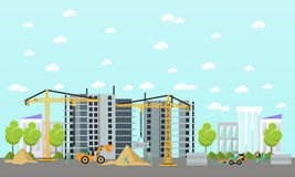 Construction site concept vector banner. Building, workers and machines, crane. Stock Photos