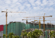 Construction site. Concrete Highrise Construction Site in the city stock images