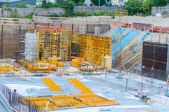 Construction Site, Concrete work. Look at the foundations of a large construction site Stock Photo