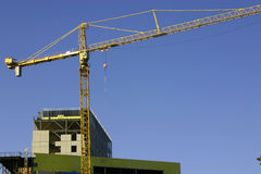 Construction site & the Crane. Zoomed in Stock Images