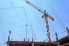 Construction Site with crane on blue sky Royalty Free Stock Photos