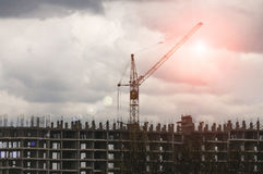 Construction site with crane and building.  Royalty Free Stock Images