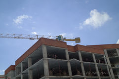 Construction site with crane and building. Royalty Free Stock Photos