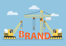 Construction site crane building big brand word Royalty Free Stock Photo