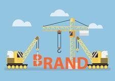 Construction site crane building big brand word. Brand building concept, VECTOR, EPS10 vector illustration