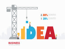 Construction site crane building concept text. Infographic Template with crane and idea building stock illustration