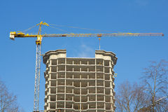 Construction site with crane, building Stock Images