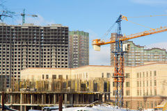 Construction site with crane, building Royalty Free Stock Images
