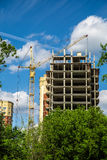 Construction site and a crane in green park Royalty Free Stock Photos