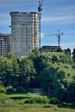 Construction site and a crane in green park Royalty Free Stock Images