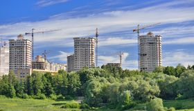 Construction site and a crane in green park Royalty Free Stock Photo