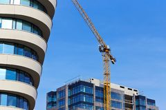 Construction site crane modern building royalty free stock photo