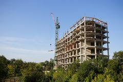Construction site with crane. Royalty Free Stock Photo